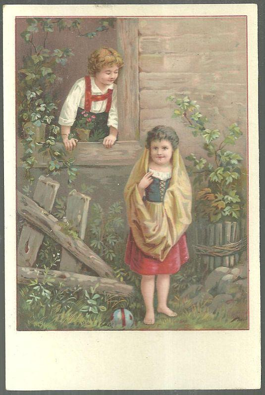 Victorian Trade Card for Van Houten Cacao with Boy and Girl Playing Outside