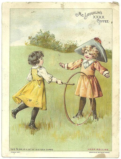 Victorian Trade Card for McLaughlin's Coffee with Two Girls Hoop Rolling
