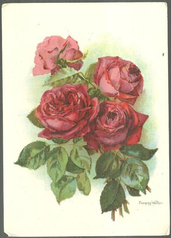 Victorian Card with Red Roses and Robert Burns' Poem The Highland Laddie