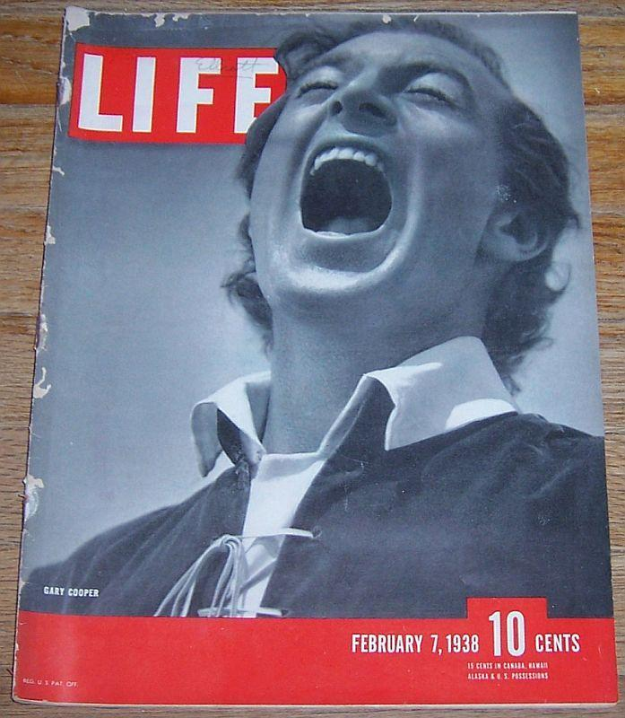 Life Magazine February 7, 1938  Gary Cooper on cover/Zorina/Surfing/New Jersey