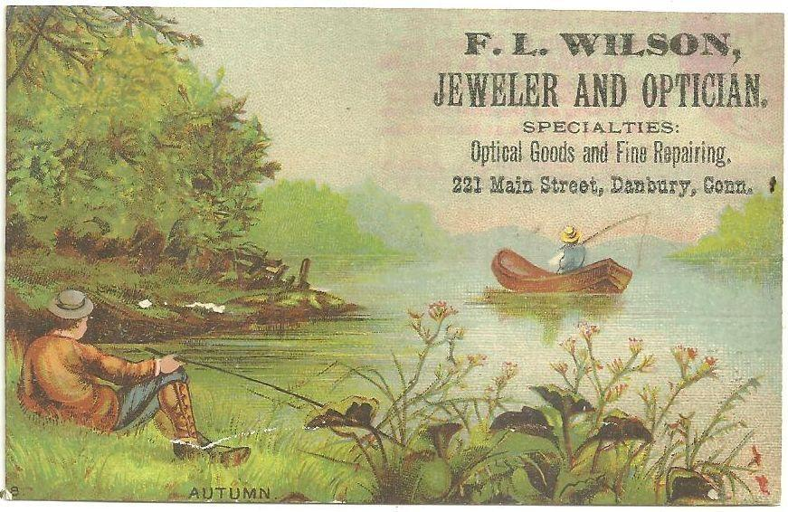 Victorian Trade Card for F.L. Wilson, Jeweler and Optician with Autumn Scene