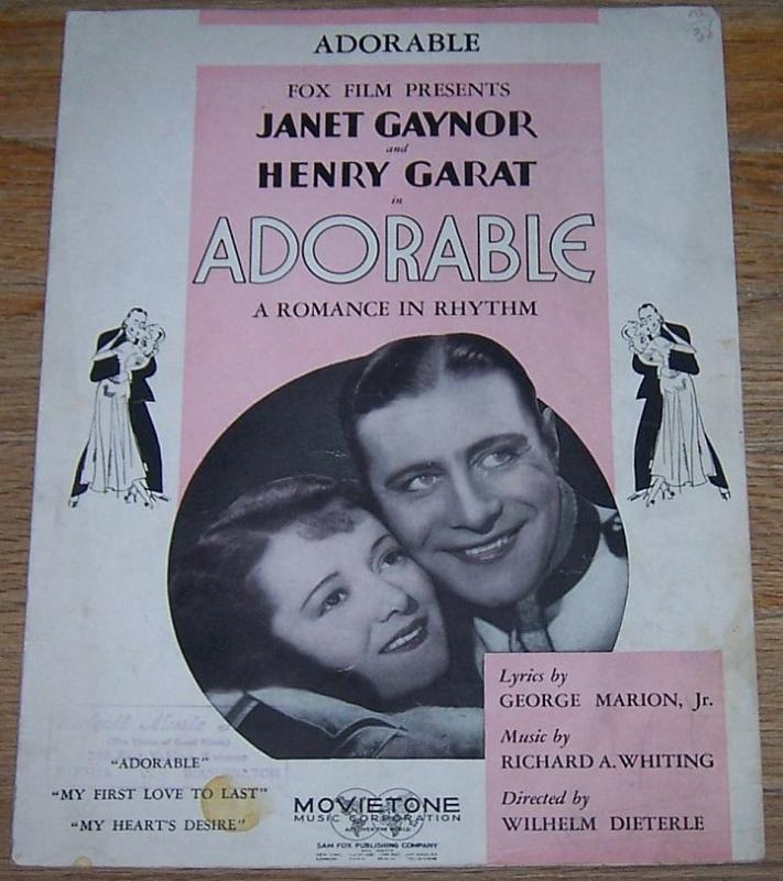 Adorable a Romance in Rhythm Starring Janet Gaynor and Henry Garat 1933 Music