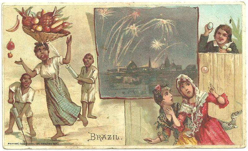 Victorian Trade Card for Arbuckle Bros. Coffee with Brazil, Halloween Pranks