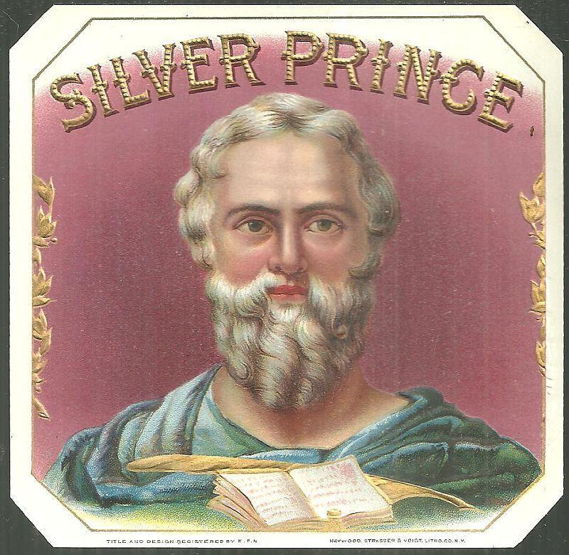 Vintage Silver Prince Cigar Label Heywood, Strasser & Voight Litho