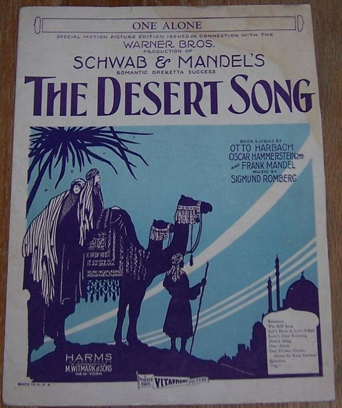 One Alone From the Warner Bros. Picture The Desert Song 1926 Sheet Music