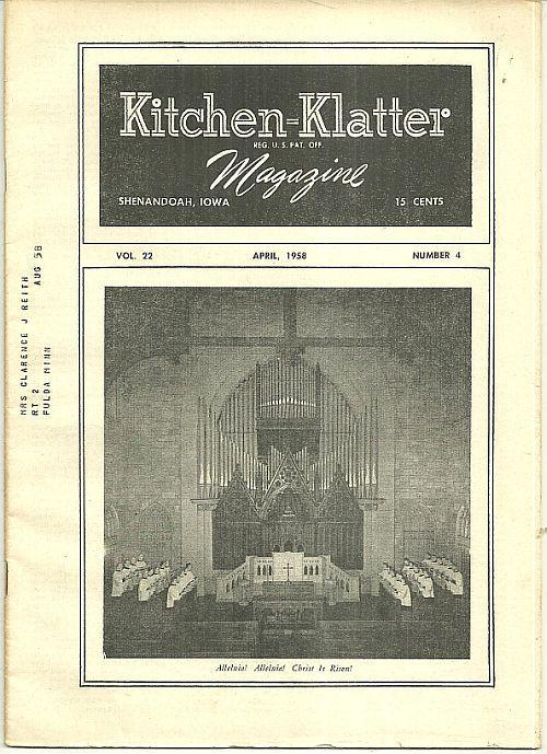 Kitchen Klatter Magazine April 1958 Easter Worship Service/Contests/Recipes