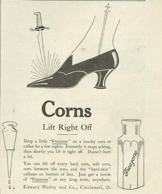 Freezone Lifts Corns 1921 Magazine Advertisement
