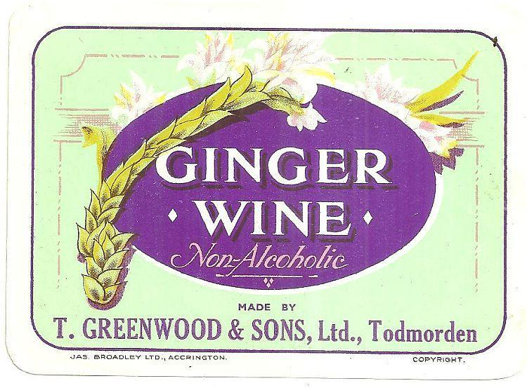 Vintage Label for Ginger Wine, Non-Alcoholic, T. Greenwood & Sons