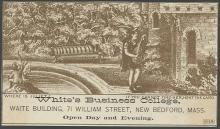 Victorian Hold to Heat Trade Card for White's Business College with Shakespeare