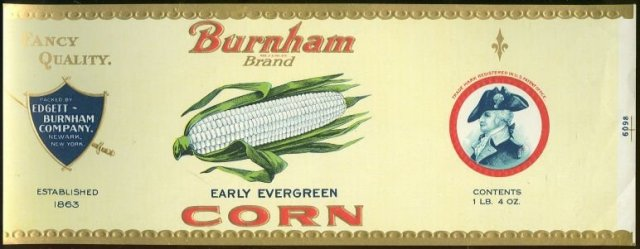 Burnham Brand Early Evergreen Corn Can Label
