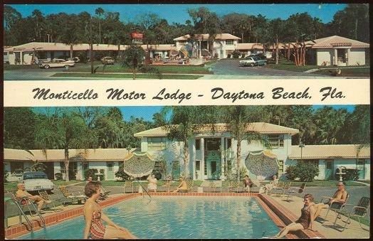 Monticello Motor Lodge, Daytona Beach, FL 1968 postcard