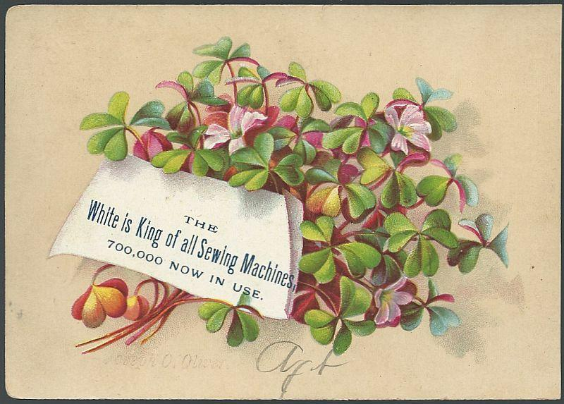 Victorian Trade Card for White Sewing Machine with Clover