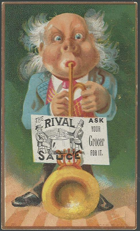 Victorian Trade Card for Rival Sauce with Man Playing Horn