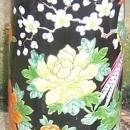 Large Vintage Made in Japan Vase with Brightly Colored Birds and Flowers