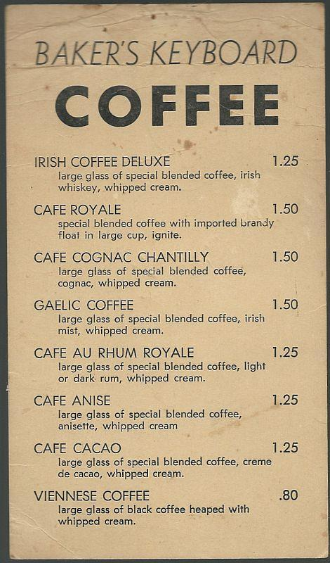 Don Shirley Signed Menu for Baker's Keyboard Coffee Lounge, Detroit, Michigan