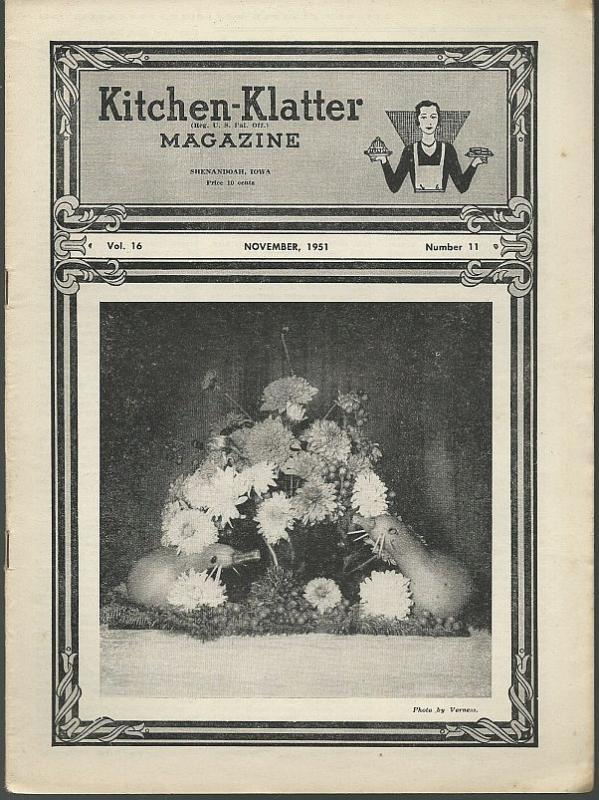 Kitchen Klatter Magazine November 1951 Thanksgiving Dinner Based on Corn/Recipes
