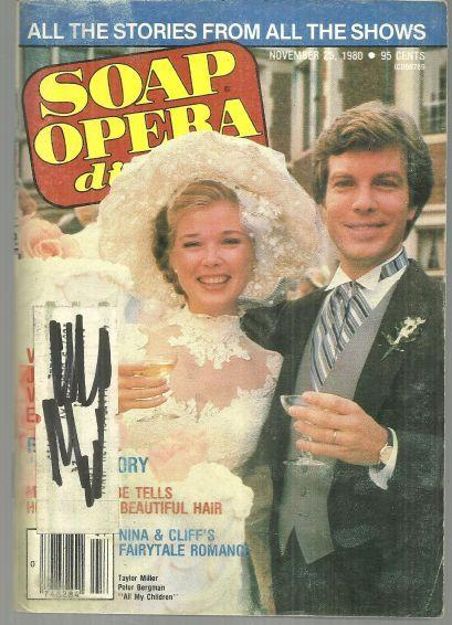 Soap Opera Digest November 25, 1980 All My Children Cliff and Nina's Wedding