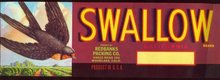 Swallow California Fruit Crate Label