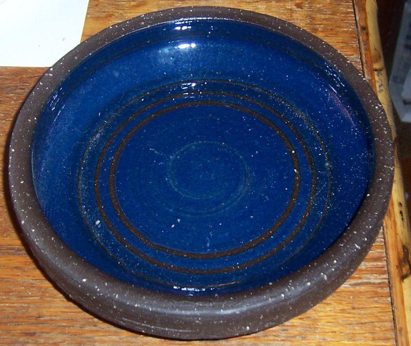 Vintage Large Blue and Brown Pottery Round Ashtray From Norway Pottery