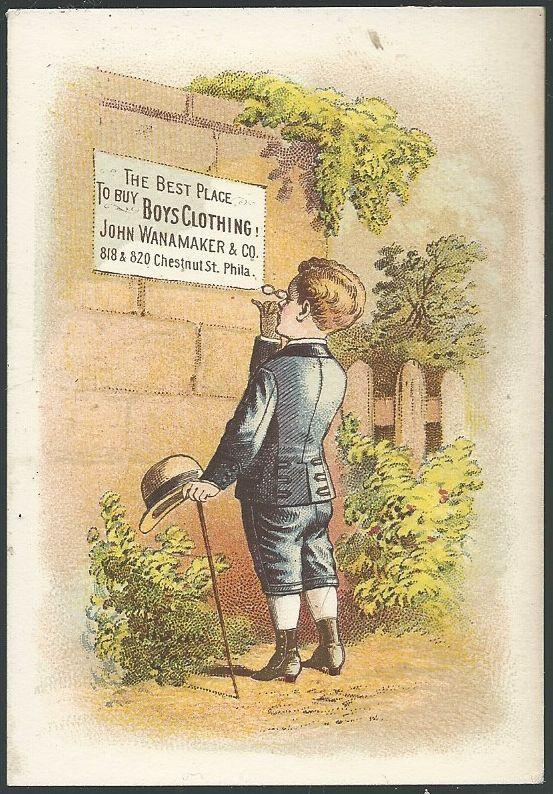 Victorian Trade Card for John Wanamker Boy's Clothing with Dapper Boy