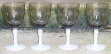 Set of Four Fry Glass Etched Smoke Wine Glasses with Milk Glass Stems