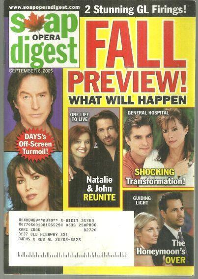 Soap Opera Digest Magazine September 6, 2005 Fall Preview on the Cover