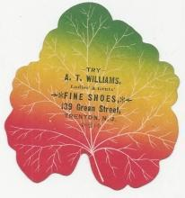 Victorian Leaf Die Cut Trade Card for A.T. Williams Shoes