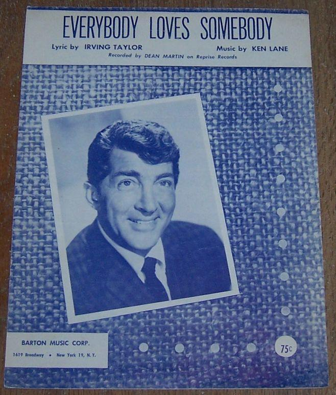 Everybody Loves Somebody Sung by Dean Martin 1948 Sheet Music