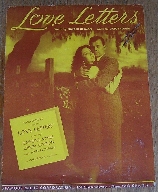 Love Letters Starring Jennifer Jones and Joseph Cotton 1945 Sheet Music