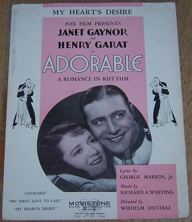 My Heart's Desire a Romance in Rhythm From Adorable Starring Janet Gaynor 1933