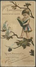 Victorian Trade Card for Buckeye Lawn Mowers Little Boy Reading to the Birds