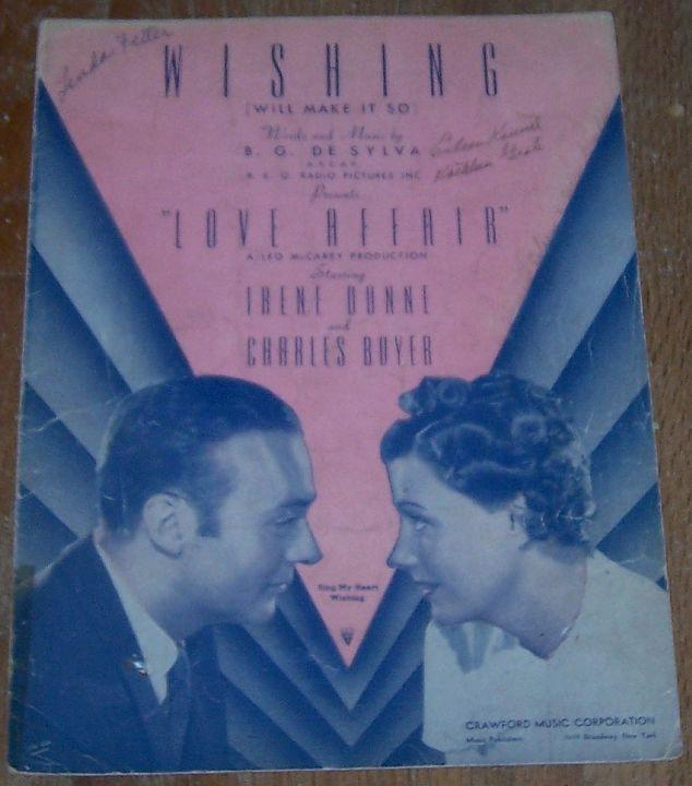 Wishing Will Make So From Love Affair 1939 Sheet Music
