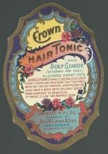 Vintage Label Crown Hair Tonic and Scalp Cleanser Dr. Lynas Logansport, Indiana