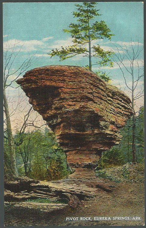 Vintage Unused Postcard of Pivot Rock, Eureka Springs, Arkansas
