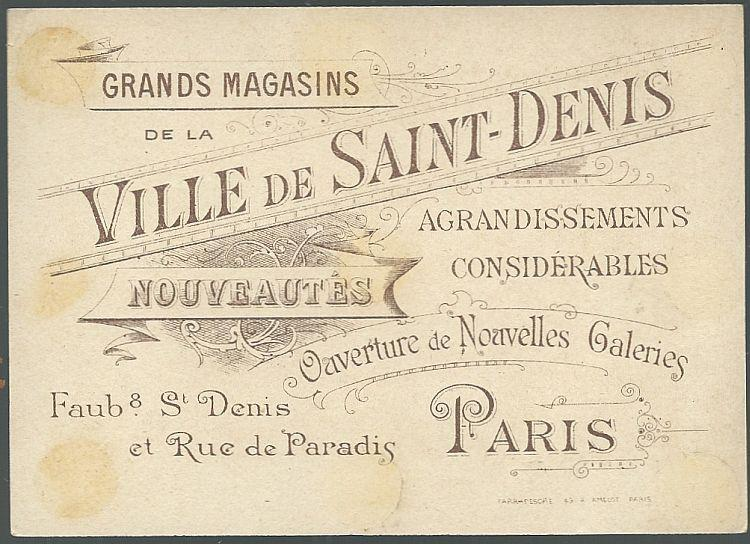 Victorian Trade Card for Ville de Saint Denis, Paris with The Crusades