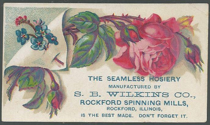 Victorian Trade Card for S. B. Wilkins Co., The Seamless Hosiery with Roses