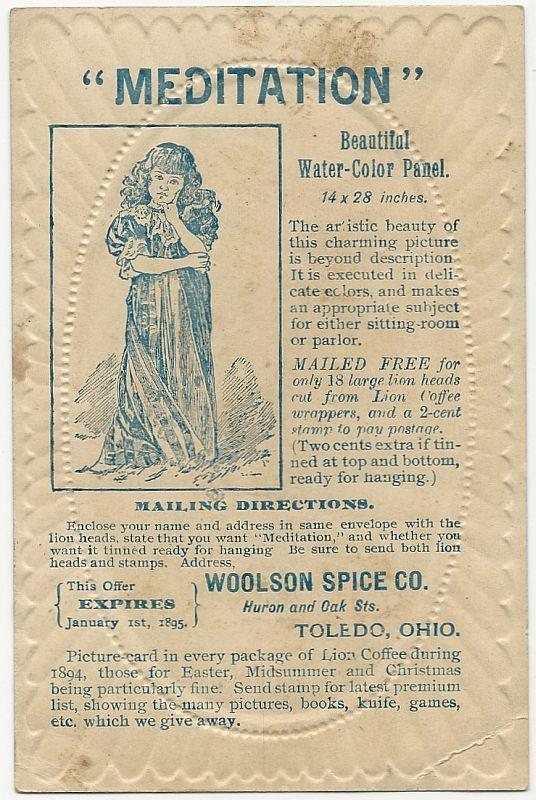 Victorian Trade Card For Woolson Spice Co. with Boy Carrying Girl Over Water