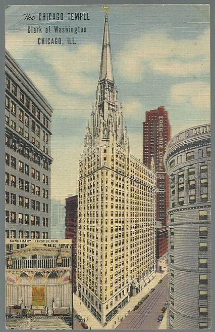 Vintage Unused Postcard The Chicago Temple Clark at Washington Chicago Illinois