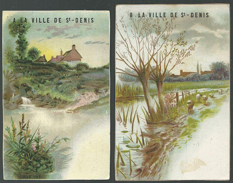 Lot of Two Victorian Trade Cards for Ville de Saint Denis Paris with Landscapes