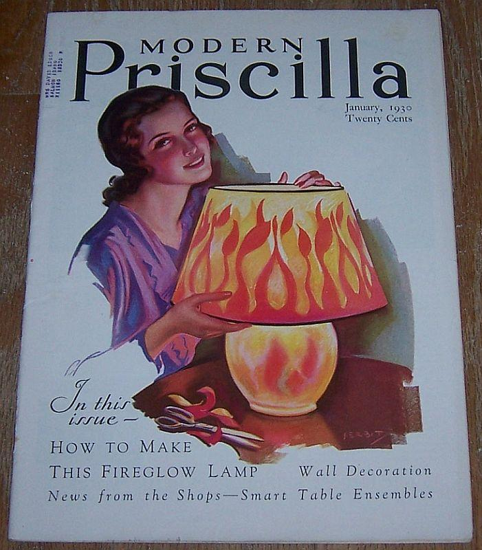 Modern Priscilla Magazine January 1930 Cover by J. Erbit Fireglow Lamp/Dinners