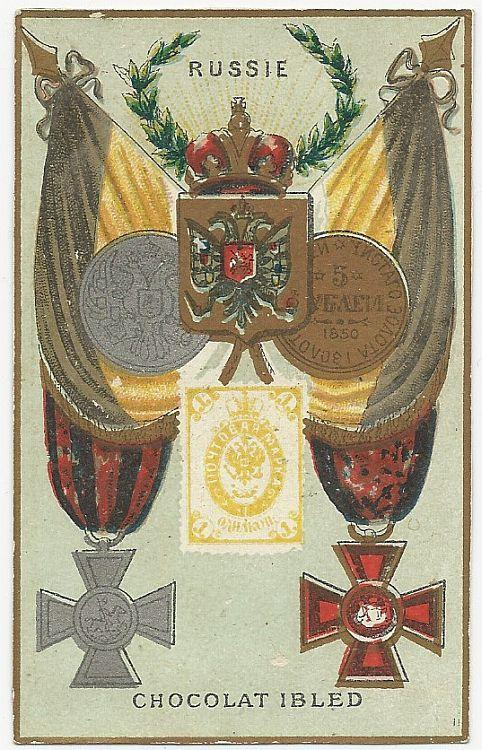 Victorian Trade Card for Chocolat Ibled with Stamp, Crest and Flag for Russie