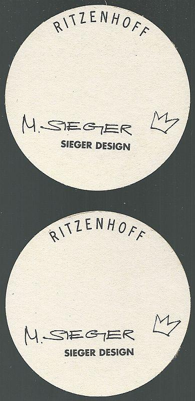 Set of Two Michael Sieger Ritzenhoff, Germany Beer Mats/Coasters King of Drinks
