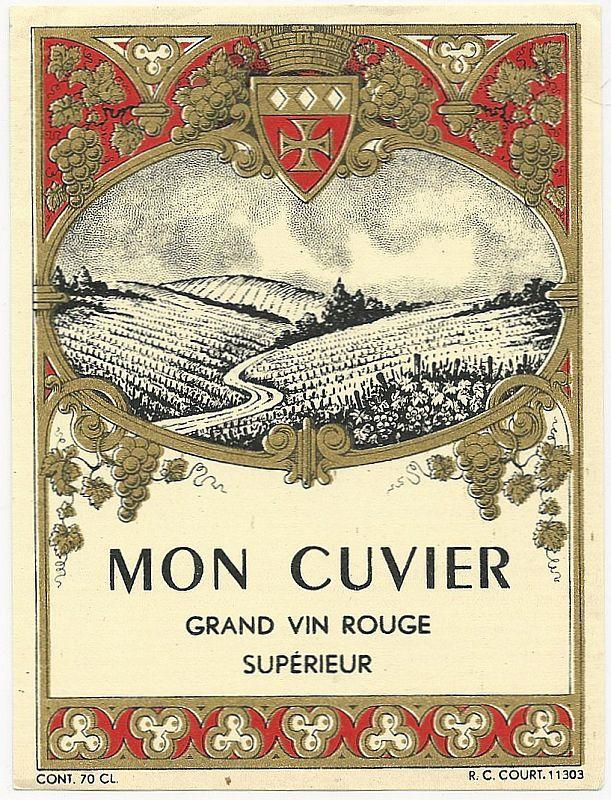 Vintage French Wine Label for Mon Cuvier, Grand Vin Rouge Superieur