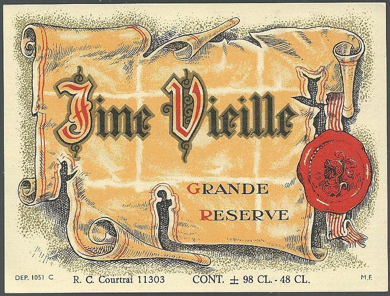 Vintage Wine Label for Fine Vielle Grande Reserve