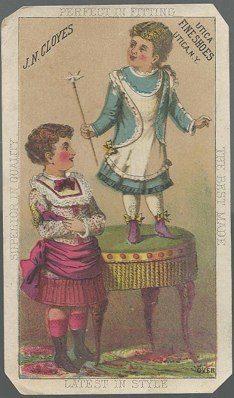 Victorian Trade Card for J.N. Cloyes Shoes with Two Little Girls