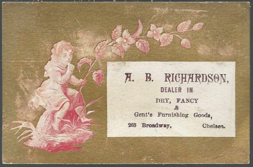 Victorian Trade Card for A.B. Richardson with Girl and Flower