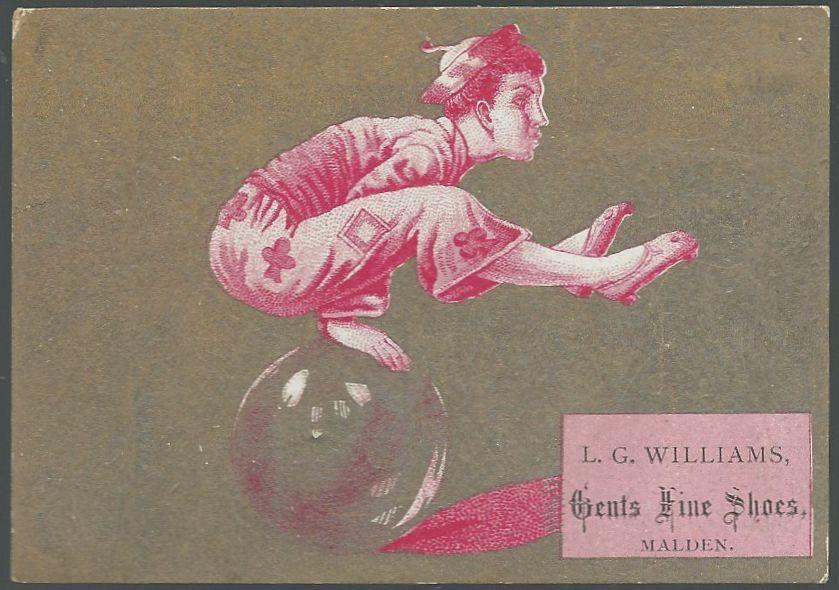 Victorian Trade Card for L.G. Williams Gents Fine Shoes with Asian Acrobat