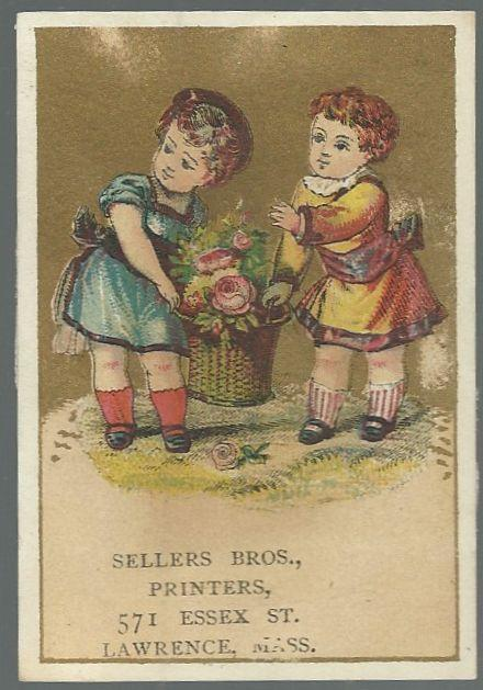 Victorian Trade Card for Sellers Bros. Printers with Girls and Rose Basket