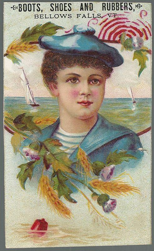 Victorian Trade Card for Boots, Shoes and Rubbers with Sailor Boy