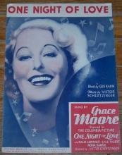 One Night of Love Sung by Grace Moore in One Night of Love 1934 Sheet Music